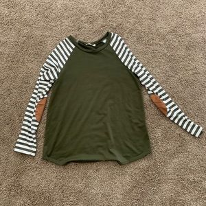 Green & White Striped Top with Elbow Patches